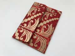 A1 4 Bar Red and Gold Floral Print Envelopes for Wedding Invitation ans Social Stationery (Pack of 25)