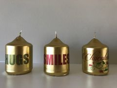 Candle Gift Box, Gold Mini Pillar Candle with printed words 'HUGS SMILES & Chocolates' Set of 3 in a handcrafted Gift Box