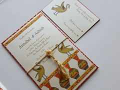 Wedding Invitation (Hardbound Panel Style) & RSVP Card - 'The Cranes'