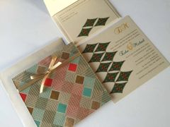 Indian Wedding Invitation & RSVP Card - with a blue green orange Burfi (Diamond) design