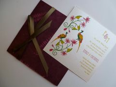 Indian Wedding Invitation & RSVP Card - Lotus and Peacock on Burgundy Leaf