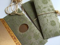Green Floral Chiffon Money Envelope - Gift Box of 8 Envelopes