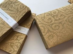 "Indian Wedding Invitation Pocket Fold A7 (5"" by 7"") - Sand brown with a gold vine print (pack of 25)"