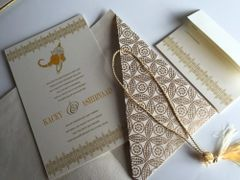 Wedding Invitation & RSVP Card, A( size - Ganesha in Gold and White