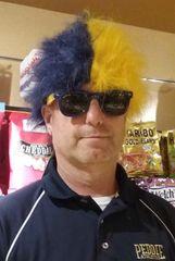 Peddie Blue & Gold Wig
