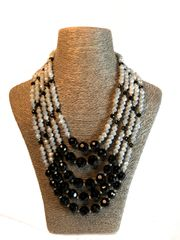 Black Five Strand Czech and Italian Glass Necklace