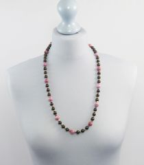 Pink Agate and Swarovski Pearl Necklace