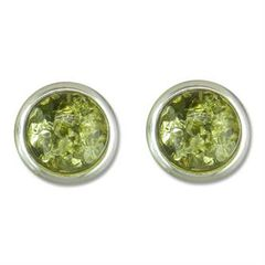 Round Green Amber Sterling Silver Studs