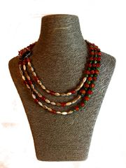 Triple Strand Italian Glass, Shell Necklace