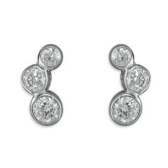Sterling Silver Graduated CZ Stud