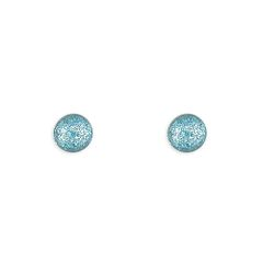 Sterling Silver 4mm Blue Glitter Ball Stud