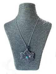 Italian Turquoise and Silver Necklace - Flower
