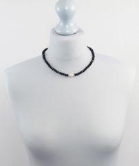 Black Glass and Swarovski Pearl Necklace