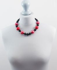 Ceramic Red and Black Necklace