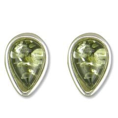 Amber Sterling Silver Tear Drop Stud (Green)