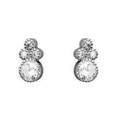 Sterling Silver Millgrain CZ Cluster Stud