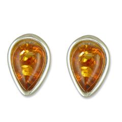 Amber Sterling Silver Tear Drop Stud