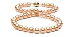 Peach Cultured Pearl Necklace 90cm