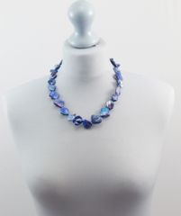 Mother of Pearl Necklace (Blue Short)