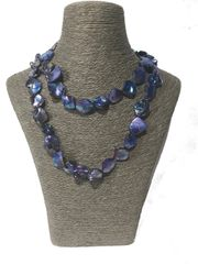 Mother of Pearl Necklace (Blue) Long