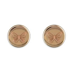 Rose Gold Plate Butterfly Studs