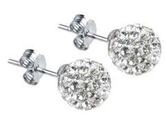 Silver Shamballa White Crystal Earrings