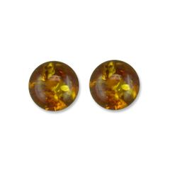 Round Amber Sterling Silver Studs
