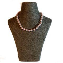 Swarovski Twisted Pearl Necklace (Pink)