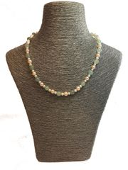 Aventurine Necklace with Peach and White Pearls