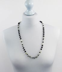 Marble Grey and Black Glass Necklace