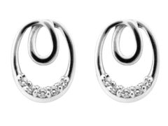 Sterling Silver Earrings Cubic Zirconia Eternal Loop