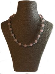 Pink Quartz and Grey Glass Necklace