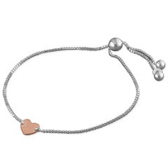 Sterling Silver Bracelet with Rose Gold Plated Heart (Slider)