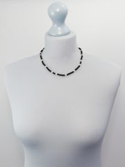 Black Onyx, Pearl and Silver Necklace