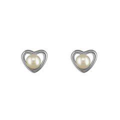 Sterling Silver Freshwater Pearl Heart Earrings