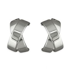 Sterling Silver Med Flat Crossover Studs