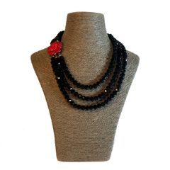 Triple Strand Black Italian Glass Necklace