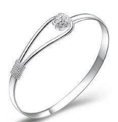 Silver Bracelet Rose Link Design