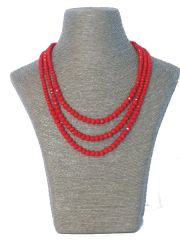 Triple Strand Red Italian Glass Necklace