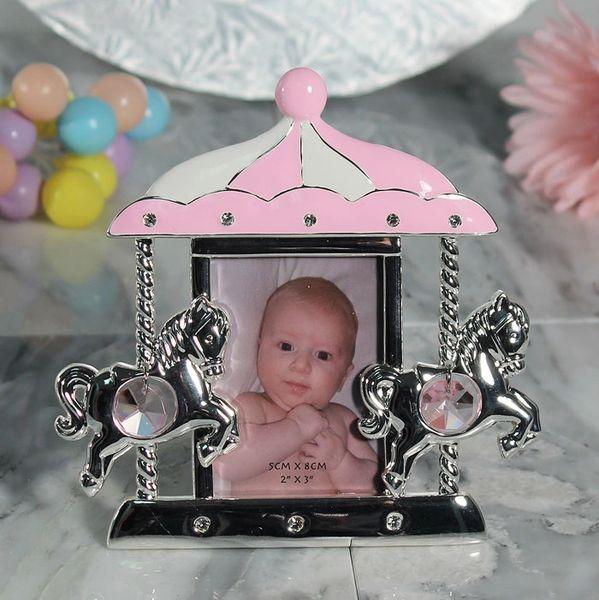 Pewter Carousel Picture Frame Pink Wedding Favors Bridal Shower