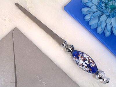 Dazzling Murano Art Blue And White Letter Opener Dc3807 Wedding