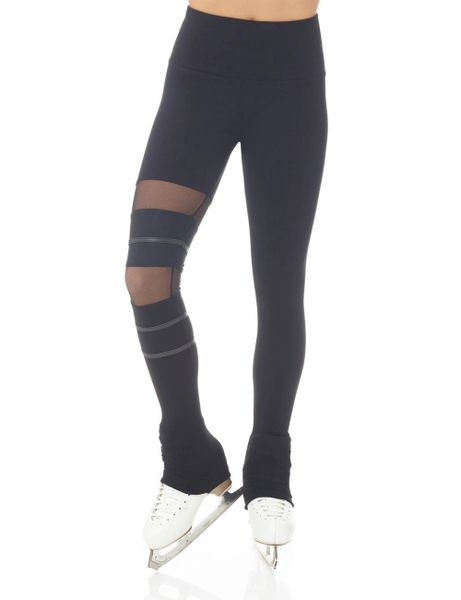 Figure Skating Supplex Leggings with Mesh and Faux Leather Inserts 6801 by Mondor Adult Extra Large