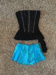 Used Figure Skating Show Costume Two Piece Black Turquoise Adult Small