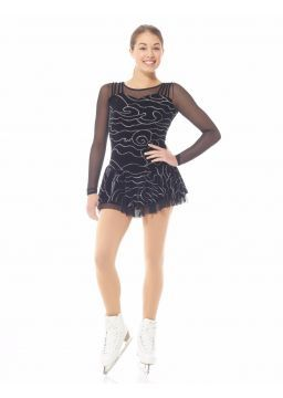 Figure Skating Dress 12928 Black Glitter Velvet by Mondor