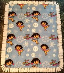 Dora the Explorer and Boots No Sew Polar Fleece Skating Blanket