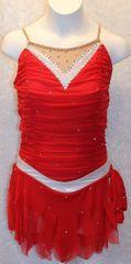Figure Skating Dress Red Mesh Metallic Silver Ladies Small by Sharene