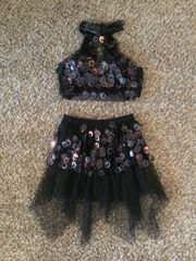 Used Figure Skating Show Costume Two Piece Halter Black Adult Small