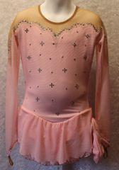 Figure Skating Dress Pink Mesh Lycra Girls Small by Sharene