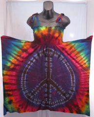 Rainbow Peace Sign Festival Dress/Skirt