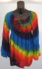 Rainbow Spiral Peasant Blouse